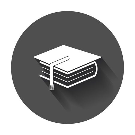 Education and book. Flat icon vector illustration with long shadow.