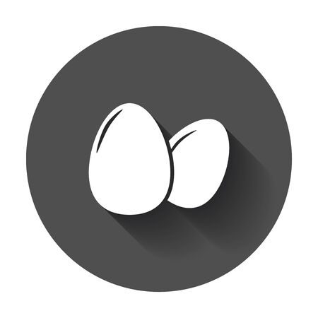Egg Icon. Flat vector illustration with long shadow. Ilustração