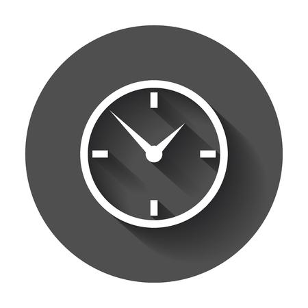 時計のアイコンは、フラットなデザイン。長い影のベクトル図です。  イラスト・ベクター素材