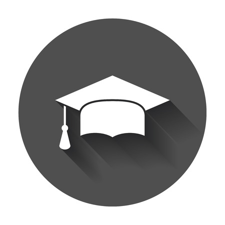 Graduation cap platte ontwerp pictogram. Afrondingssymbool. Afstuderen dag viering element met lange schaduw. Stockfoto - 78424048