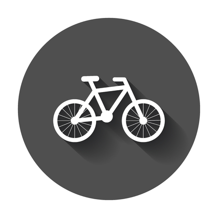 Bike silhouette icon. Bicycle vector illustration. Icons for design, website with long shadow.