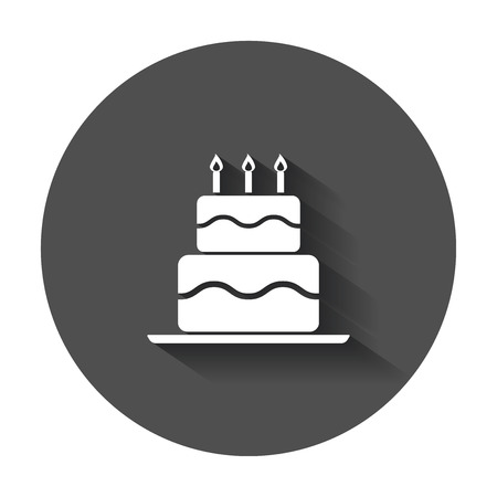 Birthday cake flat icon. Fresh pie muffin vector illustration in flat style with long shadow.