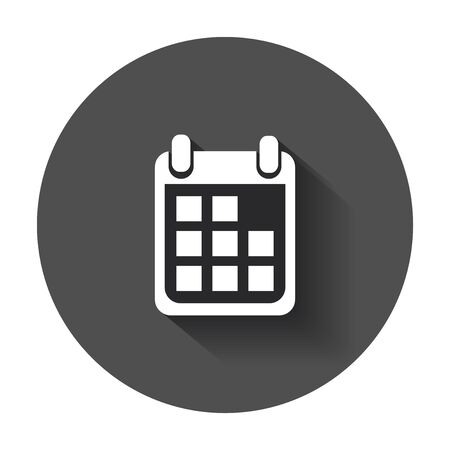 event planning: Calendar icon on vector illustration. Agenda icon in flat style with long shadow.