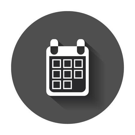 Calendar icon on vector illustration. Agenda icon in flat style with long shadow.