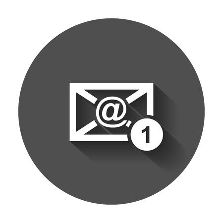 Email envelopbericht. Vectorillustratie in vlakke stijl met lange schaduw. Stockfoto - 78420661