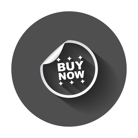 Buy now stickers. Vector illustration with long shadow.