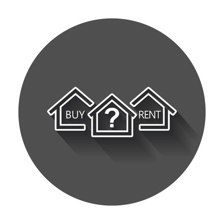 renter: Buy or rent house. Home symbol with the question. Vector illustration with long shadow.