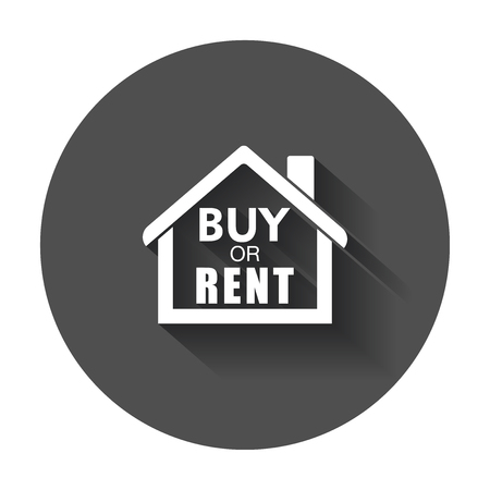 Buy or rent house. Home symbol with the question. Vector illustration with long shadow.