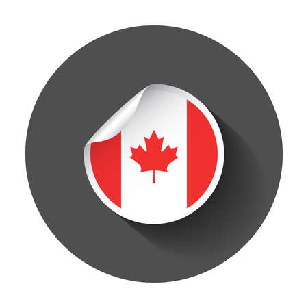 Canada sticker with flag. Vector illustration with long shadow. Illustration