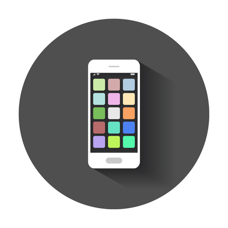 Smartphone Icon with app. Phone vector illustration with long shadow.