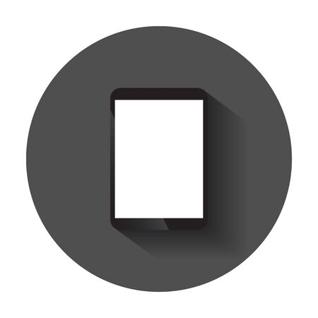 Tablet with white screen. Computer realistic vector illustration with long shadow. Illustration