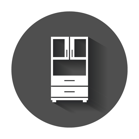 Cupboard icon. Modern flat pictogram for business, marketing, internet. Simple flat symbol with long shadow.