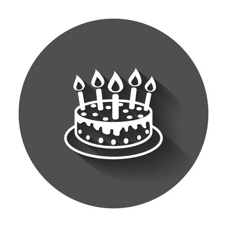 Cake with candle icon. Simple flat pictogram for business, marketing, internet concept with long shadow. Illustration
