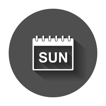 Sunday calendar page pictogram icon. Simple flat pictogram for business, marketing, internet concept with long shadow.
