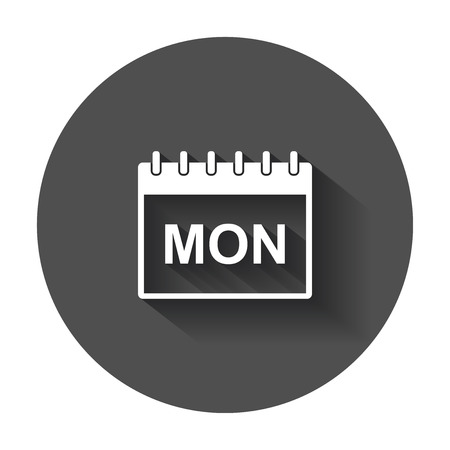 Monday calendar page pictogram icon. Simple flat pictogram for business, marketing, internet concept with long shadow.