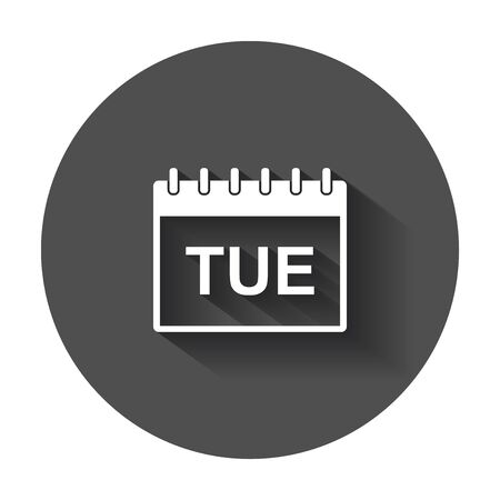 Tuesday calendar page pictogram icon. Simple flat pictogram for business, marketing, internet concept with long shadow. Ilustracja