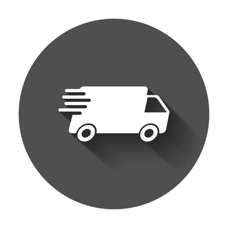 Delivery truck vector illustration. Fast delivery service shipping icon. Simple flat pictogram for business, marketing or mobile app.