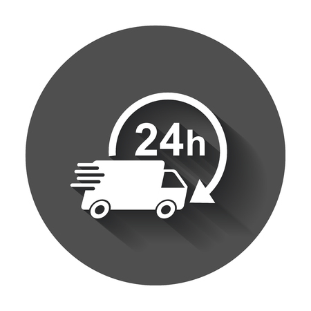 Delivery truck 24h vector illustration. 24 hours fast delivery service shipping icon. Simple flat pictogram for business, marketing or mobile app.