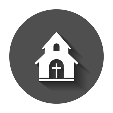 Church sanctuary vector illustration icon. Simple flat pictogram for business, marketing, mobile app, internet with long shadow. Illustration