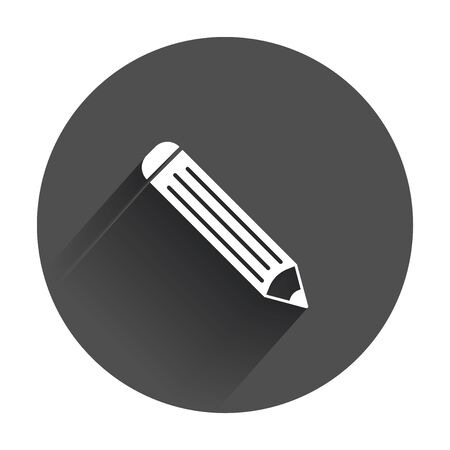 Pencil pictogram icon. Simple flat pattern for business, marketing internet concept with long shadow. Illustration