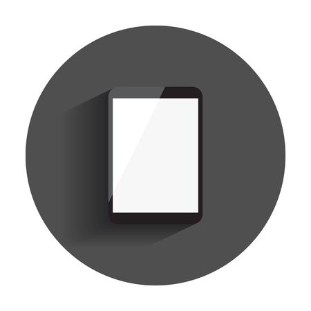 Tablet with white screen. Computer realistic vector illustration with long shadow. Illusztráció