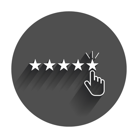 Customer reviews, rating, user feedback concept vector icon. Flat illustration with long shadow.