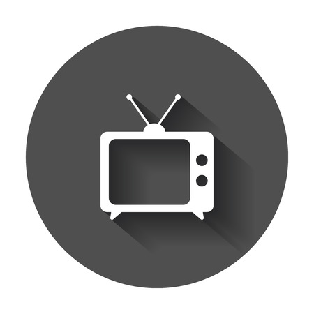 Tv Icon illustration. Television symbol for website design, logo, app, ui with long shadow.