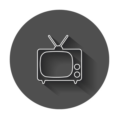 Tv Icon vector illustration in line style. Television symbol for website design, logo, app, ui with long shadow. Ilustrace