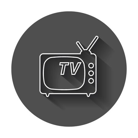Tv Icon vector illustration in line style. Television symbol for website design, logo, app, ui with long shadow. Illustration