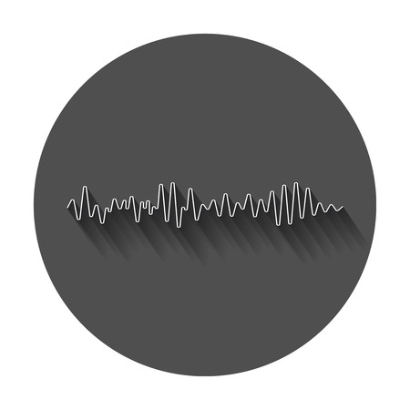 벡터 사운드 파형 아이콘입니다. 음파 및 뮤지컬 펄스 벡터 일러스트 긴 그림자.