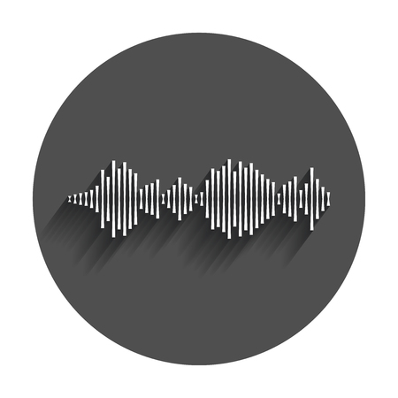 Vector sound waveforms icon. Sound waves and musical pulse vector illustration with long shadow.