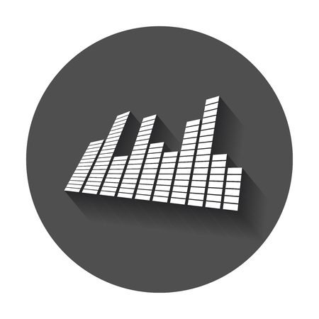 ミラーのベクトル サウンド波形アイコン。音の波と長い影と音楽パルス ベクトル イラスト。