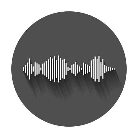 ベクトル サウンド波形アイコン。音の波と長い影と音楽パルス ベクトル イラスト。