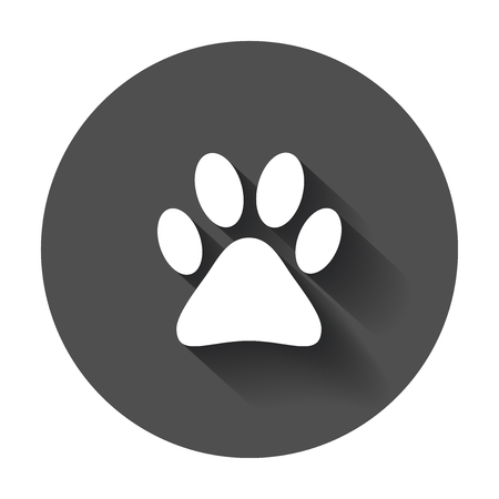 Paw print icon vector illustration. Dog, cat, bear, paw, symbol.
