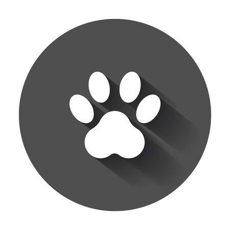 Paw print icon vector illustration. Dog, cat, bear, paw, symbol.