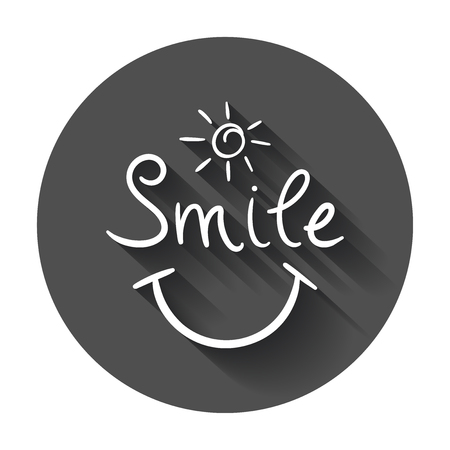 Simple smile vector icon. Hand drawn face doodle illustration with long shadow.