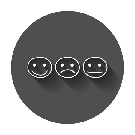 Hand drawn smiley icon. Emotion face vector illustration in flat style with long shadow.