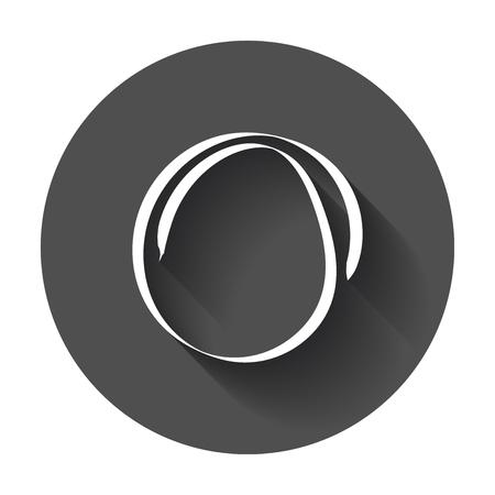 Hand getekende scribble cirkel. Vector element. Illustratie met lange schaduw.