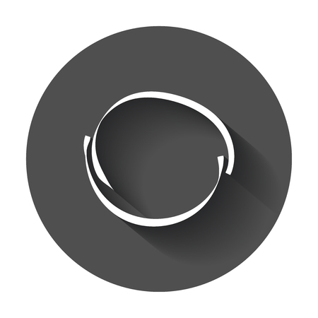 Hand drawn scribble circle. Vector element. Illustration with long shadow.