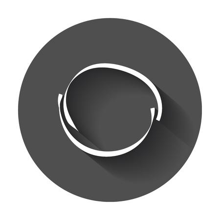 Hand getrokken Krabbel cirkel. Vector element. Illustratie met lange schaduw. Stock Illustratie