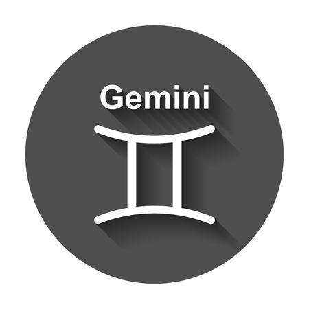 Gemini zodiac sign. Flat astrology vector illustration with long shadow. Illustration