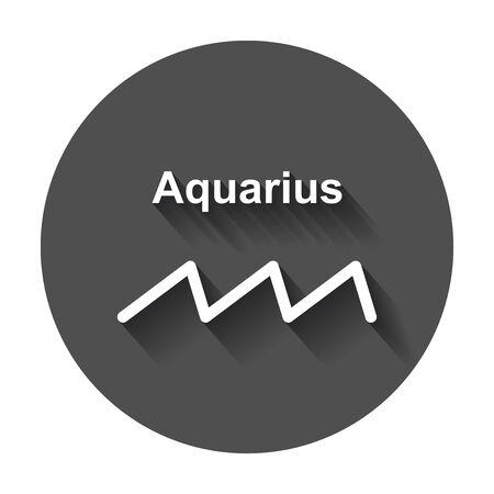 Aquarius zodiac sign. Flat astrology vector illustration with long shadow. Иллюстрация