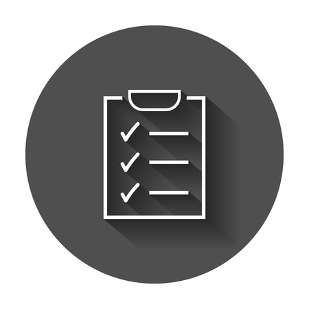 To do list icon. Checklist, task list vector illustration in flat style. Reminder concept icon with long shadow. Ilustrace
