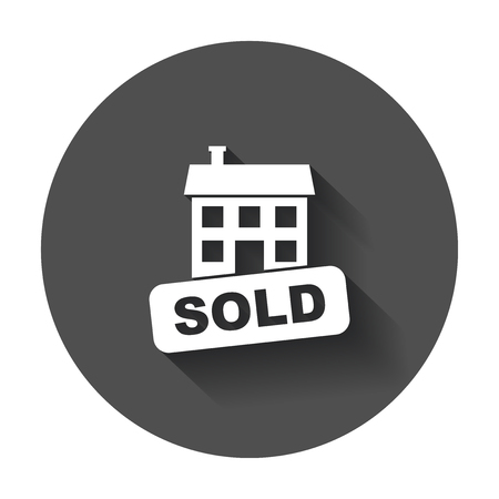 Sold house icon. Vector illustration in flat style with long shadow. Illusztráció