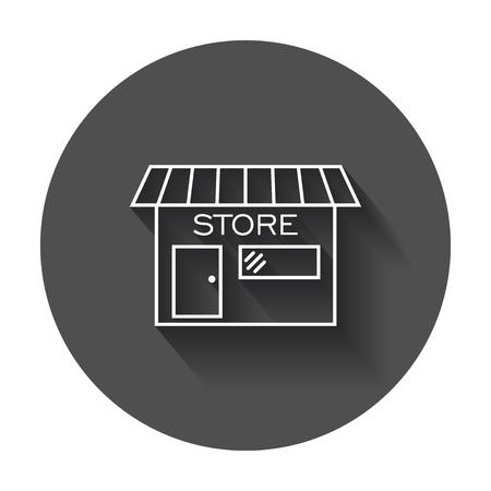 Winkel pictogram vectorillustratie in vlakke stijl. Winkelsymbool met lange schaduw. Stock Illustratie