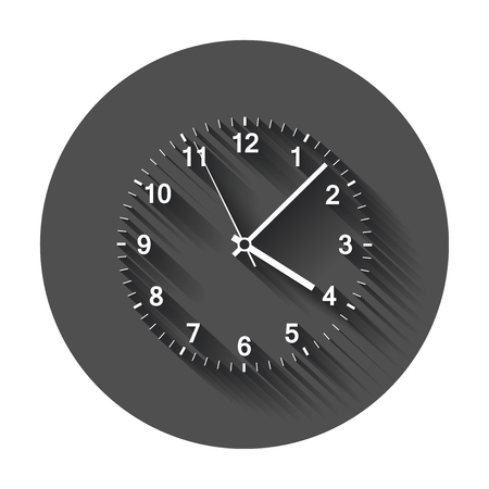 Clock icon vector illustration. Office clock with long shadow.