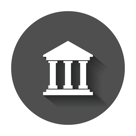Bank building icon in flat style. Museum vector illustration with long shadow.