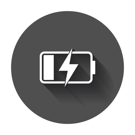 Battery charge level indicator. Vector illustration with long shadow.