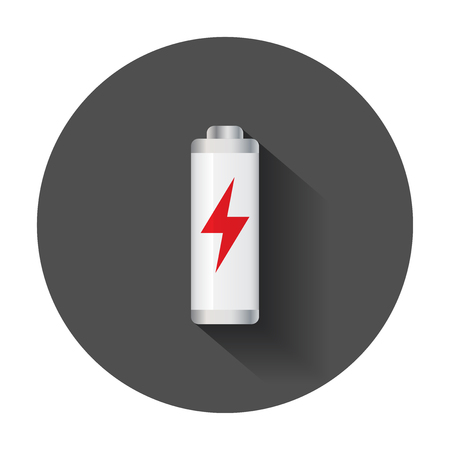 Low level battery charge level indicator. Vector illustration with long shadow.