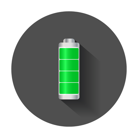 Full level battery charge level indicator. Vector illustration with long shadow.